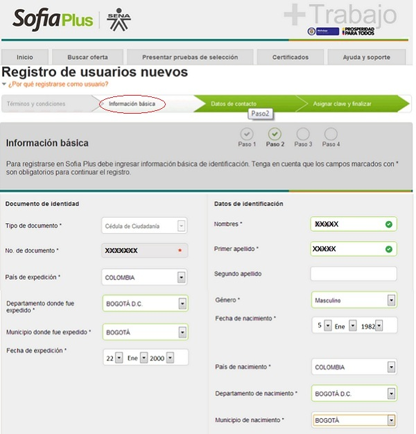 """Registro SOFIA Plus. Paso 2"""